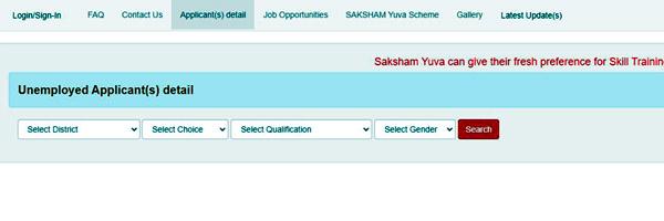 Applicant Details of Saksham
